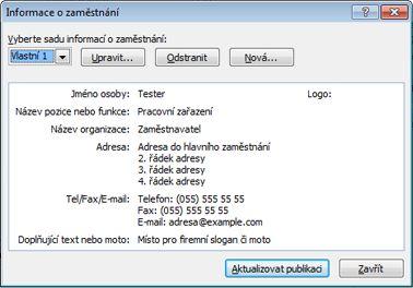 Úprava sady informací o zaměstnání v aplikaci Publisher 2010