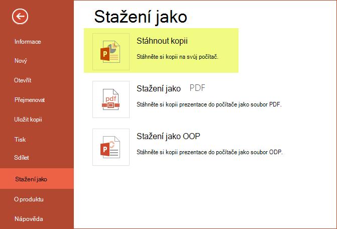 Uložení prezentace do počítače pomocí stažení kopie