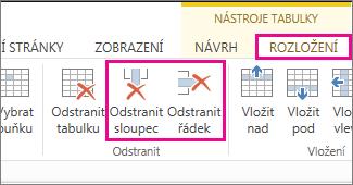 Obrázek příkazů Odstranit tabulku a Odstranit řádek na pásu karet Nástroje tabulky – Rozložení