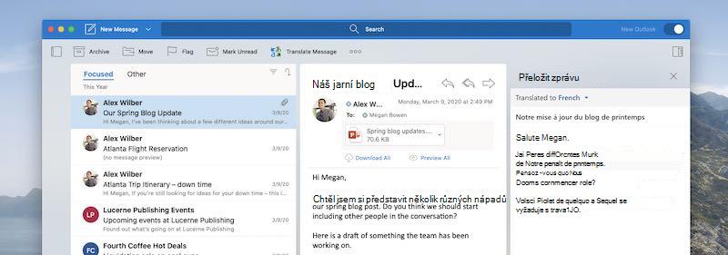Outlook pro Mac zobrazující používaný doplněk