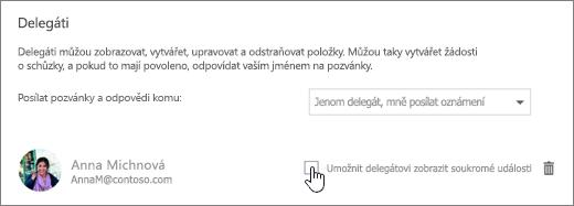 Snímek obrazovky se zaškrtávacím políčkem Umožnit delegátovi zobrazit soukromé události