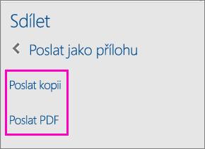 Obrázek s dvěma možnostmi v podokně Sdílet, které umožňují odeslání dokumentu e-mailem jako kopii nebo jako PDF