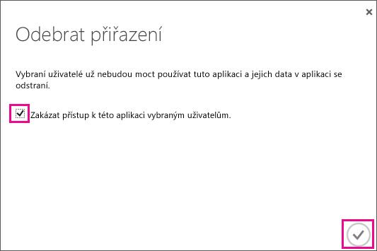 Zobrazuje dialog Azure AD se zaškrtávacím políčkem, které je potřeba zaškrtnout, pokud chcete odebrat přístup pro tohoto uživatele portálu Service Trust. Pak klikněte na ikonu vpravo dole a akci tak dokončete.
