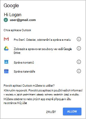 Klikněte na povolit, abyste umožnili přístup k Outlooku pro zprávy, soubory, kontaktů a kalendářů Gmail