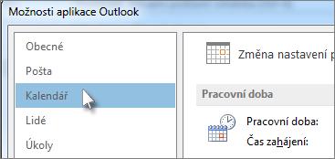 Kliknutí na Kalendář v možnostech Outlooku
