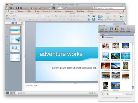 Powerpointová prezentace a prohlížeč médií