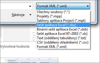 Vyběr typu otevíraného excelového sešitu obsahujícího data