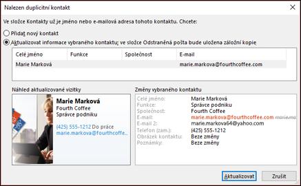 Pokud máte duplicitní kontakty, Outlook zeptá, jestli chcete aktualizovat.