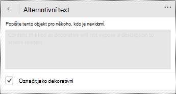 Označit jako ozdobnou možnost vybranou v dialogovém okně alternativní text pro PowerPoint pro Windows Phone
