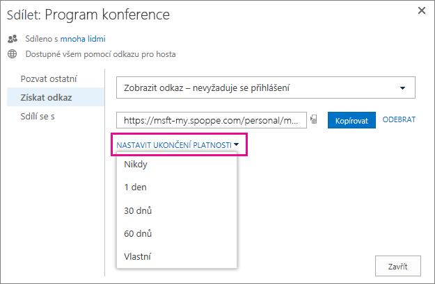 Snímek obrazovky znázorňující nastavení platnosti odkazu pro hosty
