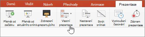 Tlačítko Přehrát vlastní prezentace