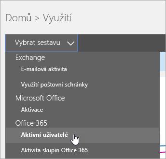"""V """"vyberte rozevírací seznam sestava"""", klikněte na """"Aktivní uživatelé"""""""