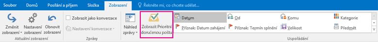Tlačítko Zobrazit Prioritní doručenou poštu na kartě Zobrazení