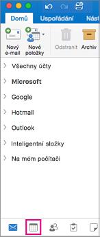 Vyberte tlačítko Kalendář v dolní části seznamu složek v Outlooku