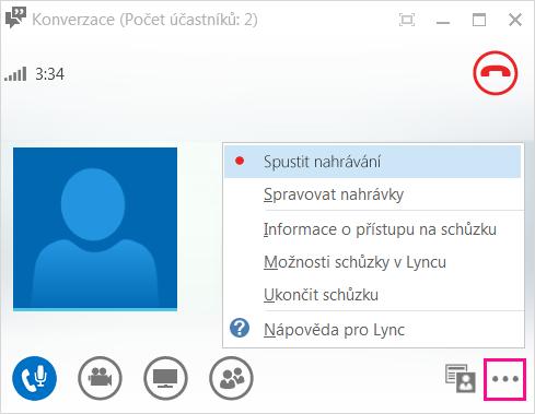 snímek obrazovky s tlačítkem nahrávání