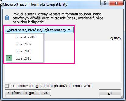 Určení verzí Excelu, se kterými se má zkontrolovat kompatibilita