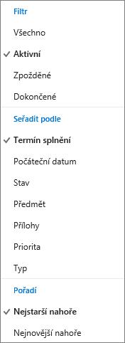 Výběr způsobu filtrování, uspořádání a řazení úkolů v seznamu úkolů pro Outlook.com