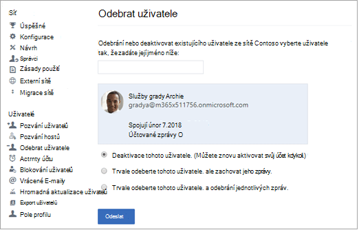 Snímek obrazovky znázorňující postup, jak deaktivovat uživatele v Yammeru