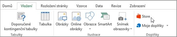 Snímek obrazovky části karta vložení na pásu karet aplikace Excel s kurzorem ukazujícím na Store. Vyberte úložiště přejít na Office Store a vyhledejte doplňky aplikace Excel.