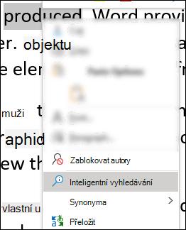 Kontextová nabídka ve Wordu s vybraným inteligentním vyhledáváním