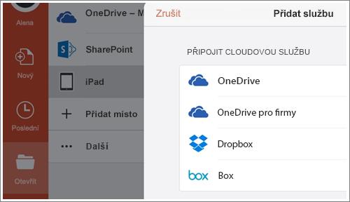 Snímek obrazovky s přidáním místa v PowerPointu pro iPad
