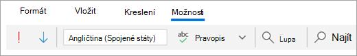 Snímek obrazovky s kartou možnosti