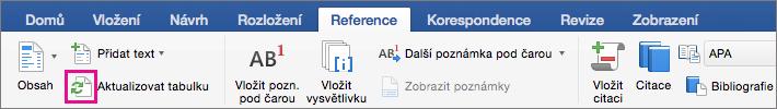 Na kartě odkazy na aktualizace dokumentu obsahu klikněte na Aktualizovat tabulku.