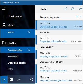 Hlavní obrazovce v aplikaci pošta pro Windows 10