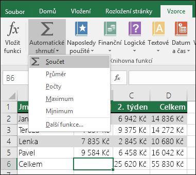 Vzorec součtu můžete vytvořit automaticky pomocí průvodce Automatické shrnutí.  Vyberte oblast nad nebo pod, případně vlevo nebo vpravo od oblasti, kterou chcete sečíst, přejděte na kartu Vzorec na pásu karet a pak vyberte Automatické shrnutí a SUMA.