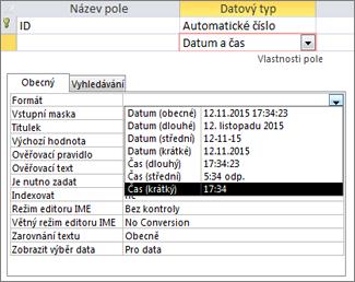 Vlastnost Formát pole typu Datum a čas