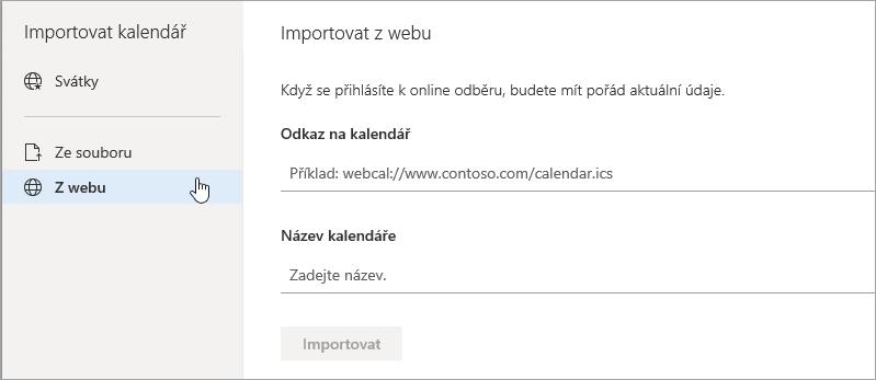 Snímek obrazovky s importem webové možnosti