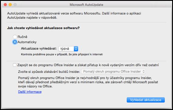 Automatická aktualizace pro Office pro Mac