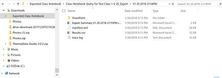 umístění exportovaného souboru poznámkového bloku předmětu