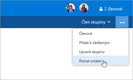 Snímek obrazovky s tlačítkem pozvat ostatní v nabídce nastavení skupiny
