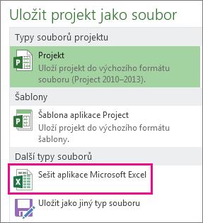 Uložení souboru Projectu jako sešitu Microsoft Excelu