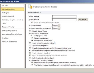 Dialogové okno možností aplikace Access s fokusem na možnostech aktuální databáze