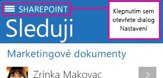 Snímek tlačítka SharePoint na zařízení iOS