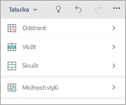 Kartu tabulky Windows phone