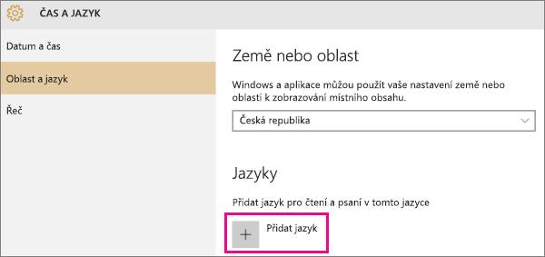 Přidání jazyka ve Windows 10