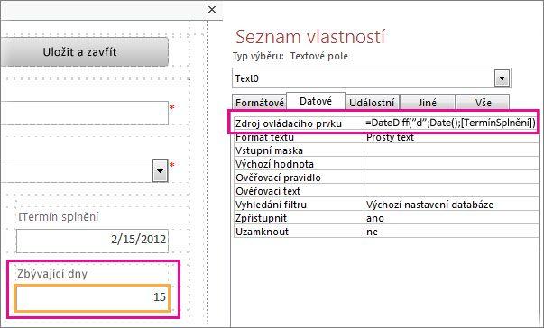 Zadání funkce DateDiff do vlastnosti Zdroj ovládacího prvku pro textové pole