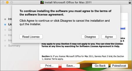 Snímek obrazovky soknem potvrzení softwarové licenční smlouvy
