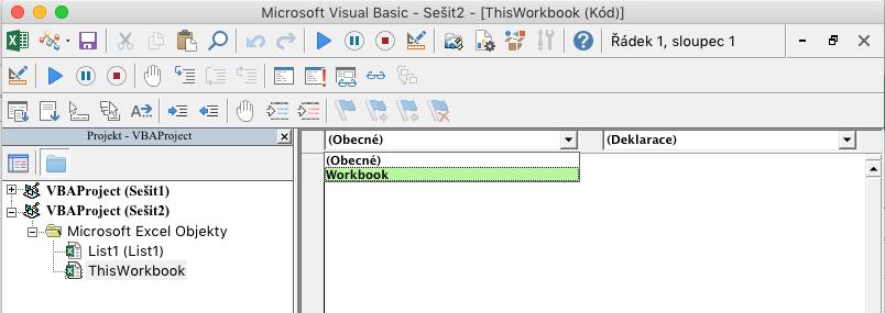 Editor jazyka Visual Basic zobrazuje rozevírací seznam pro výběr objektu