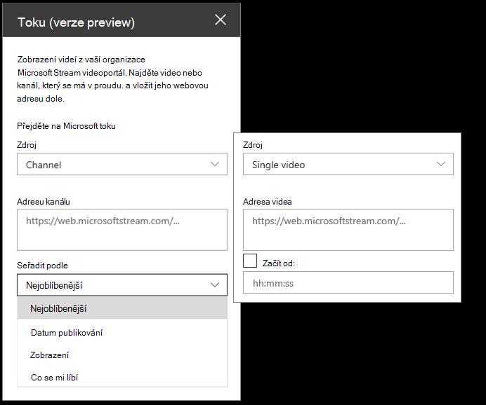 Podokno úloh Souprava nástrojů Microsoft Stream videa