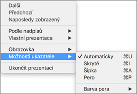 Zobrazení seznamu příkazů při nahrávání kliknutím s podrženou klávesou Control