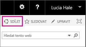 Snímek obrazovky s ovládacím prvkem Sdílet pro sdílení webu