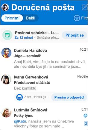 Zobrazit složku Doručená pošta v Outlooku