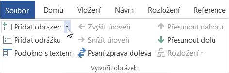 Tlačítko Přidat obrazec ve skupině Vytvořit obrázek
