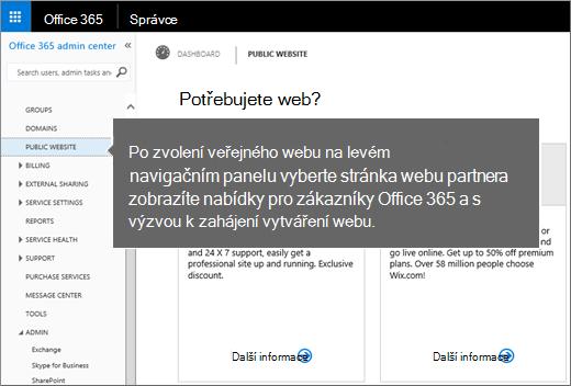 V Office 365 zvolte Veřejný web.
