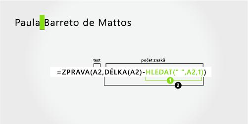 Vzorec pro oddělení jména a příjmení, které se skládá ze tří částí
