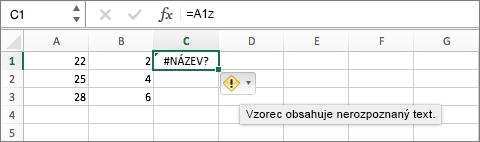 Vysvětlení chyby zobrazíte umístěním kurzoru na symbol chyby